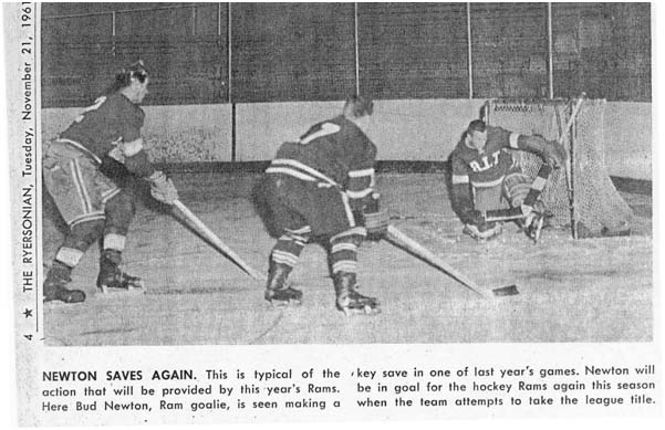 Ryerson Rams Bud Newton makes a save