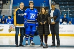 TORONTO, ON - Feb 2, 2019 : 2018-2019 Ontario University Athletics Men's Hockey Regular Season Senior Day Game Action between the Ryerson Rams and the Toronto Varsity Blues.  Greg DiTomaso #20 of Ryerson Rams(Photo by Alex D'Addese /Ryerson Rams Athletics)